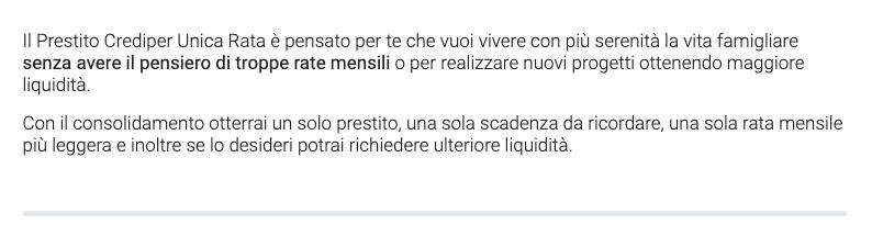 Prestito Crediper Unica Rata 2021