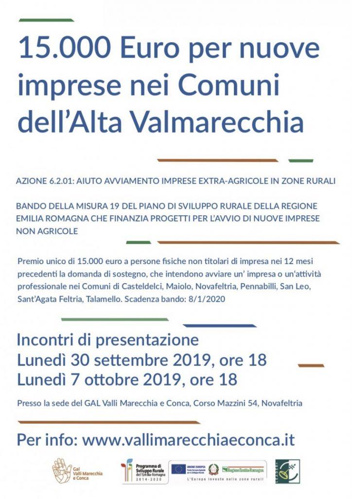 Aiuto avviamento imprese extra agricole in zone rurali - seconda edizione Bando GAL Valli Marecchia e Conca